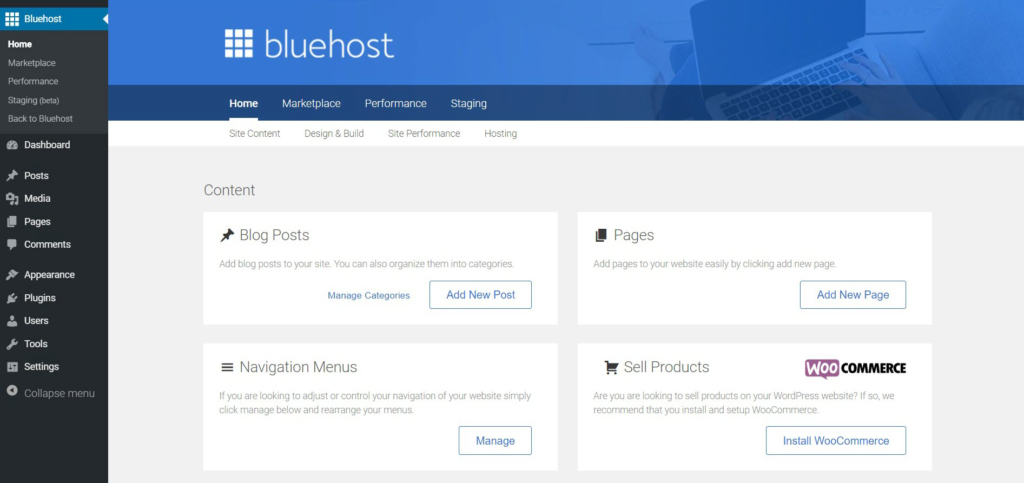DreamHost vs Bluehost Menu