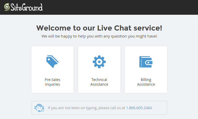SiteGround's Live Chat-system.