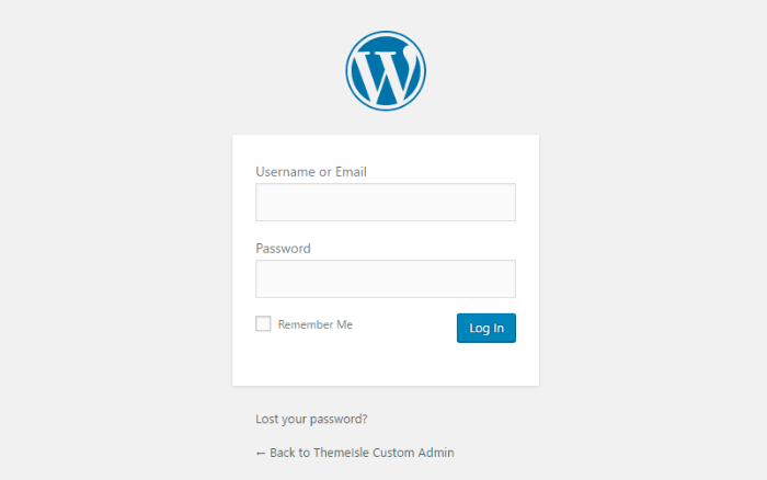 Tilpas WordPress-administrator - login-side først
