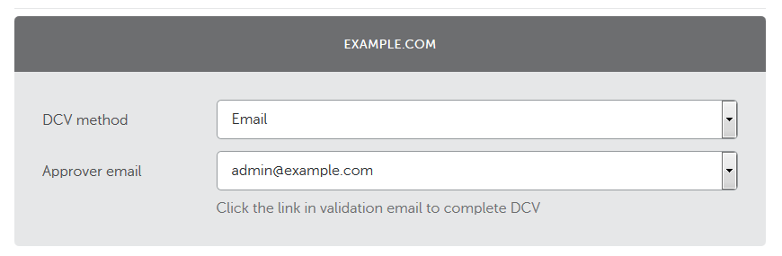 Valg af e-mail-validering for at fornye SSL-certifikat