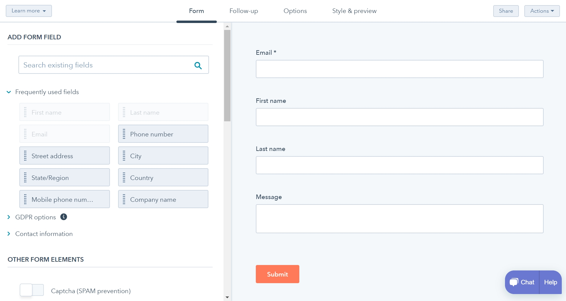 hubspot wordpress plugin interface