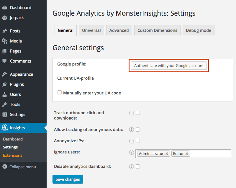 Google-Analytics-WordPress-Plugin-Authentifizierung