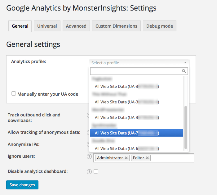 Google-Analytics-WordPress-Plugin-Eigenschaft