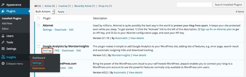 Google-Analytics-WordPress-Plugin-Einstellungen