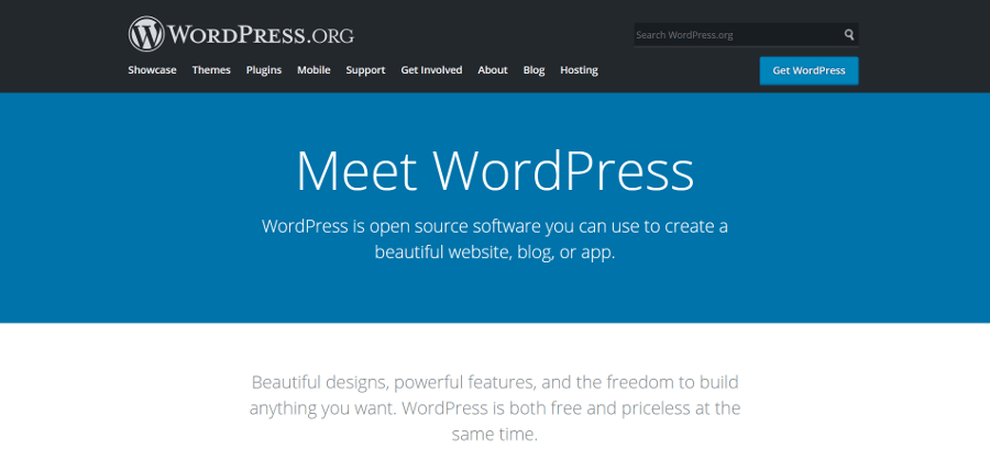 O site do WordPress.